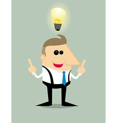 Cartoon businessman with idea vector