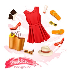 Collage of summer clothing and accessories vector