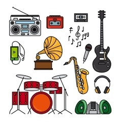 Music and musical instruments line icons vector
