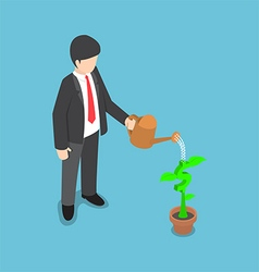 Isometric usinessman watering dollar flower plant vector