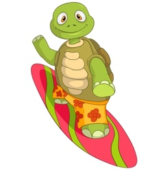 Funny turtle surfing vector