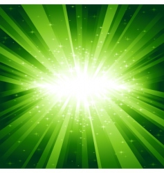 Green light burst with stars vector