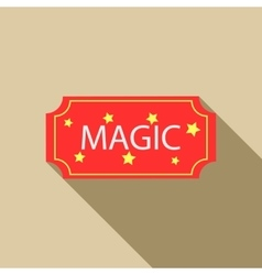 Red magic show ticket icon flat style vector