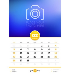 Wall calendar template for 2017 year february vector