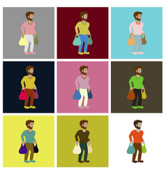 assembly flat icons man on shopping with packages vector image vector image