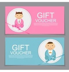 Baby gift voucher template vector