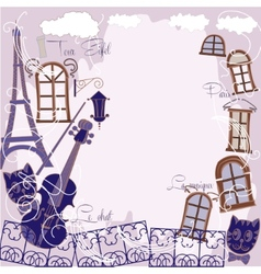 Background with music cat and blue city vector image vector image