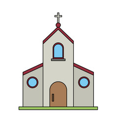 color image church building with cross vector image