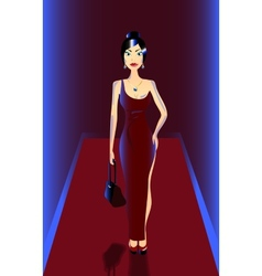 Fashion model in red vector image