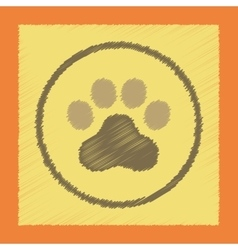 Flat shading style icon dog trail vector