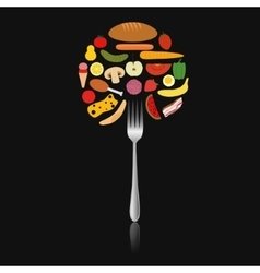 Foods in circle on the fork vector