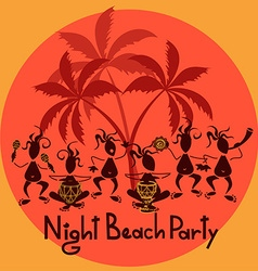 Funny invitation to night beach party vector
