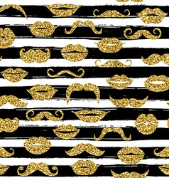 Gold moustache seamless pattern on white bacground vector image vector image