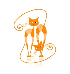 Graceful orange striped cat for your design vector image