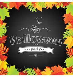 Halloween Frame With Leaves vector image vector image