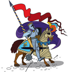 Horse knight with a spear vector