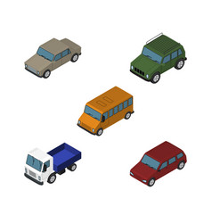 Isometric car set of autobus car armored and vector