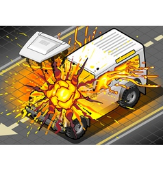 Isometric white cross country vehicle in explosion vector