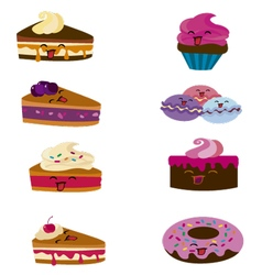 kawaii candy and cakes vector image vector image