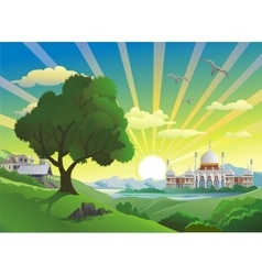 Landscape - Arab Palace over the lake vector image vector image