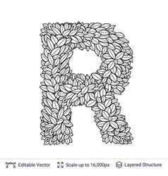 letter r symbol of white leaves vector image