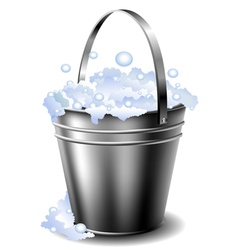 Metal bucket with foam vector image vector image
