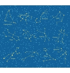 Night sky with constellations map vector
