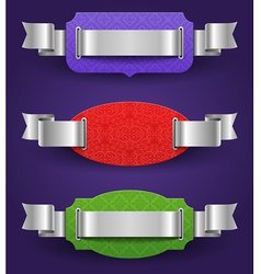 Ornate color frames with silver ribbons - vector image
