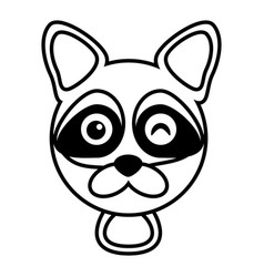 outline raccoon head animal vector image vector image