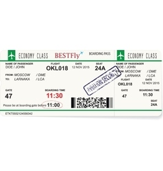Pattern of a boarding pass or air ticket vector image vector image