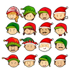 People in christmas hats vector image