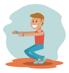 Physical education - boy training exercise school vector