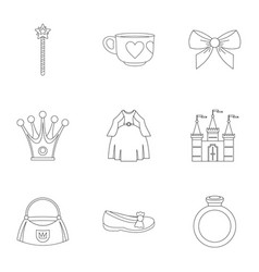 princess accessories icon set outline style vector image vector image