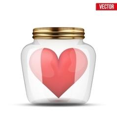 Red heart inside glass jar vector