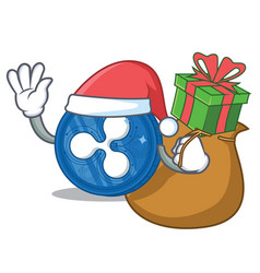 Santa with gift ripple coin character cartoon vector