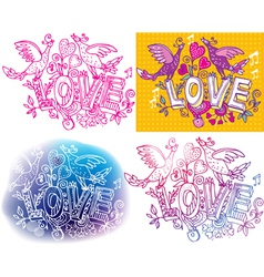 Set of Love sketchy vector image vector image