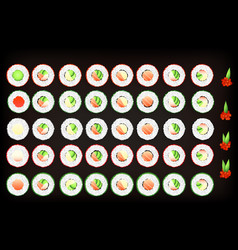 set of tasty sushi rolls with tobiko caviar vector image vector image