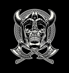 Skull of viking warrior with crossed axes vector