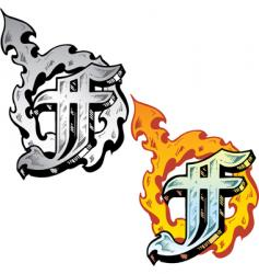 tattoo letter F vector image