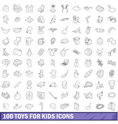 100 toys for kids cons set outline style vector