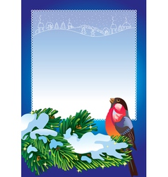 Christmas frame with bullfinch vector