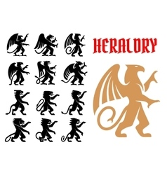 Heraldic mythical animals icons set vector
