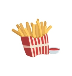 French fries and ketchup street food menu item vector