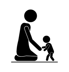 Baby giving his first steps with mom vector image