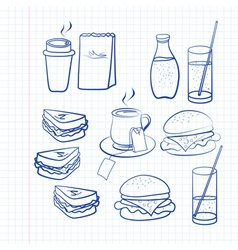 Hand drawn outlines of food vector