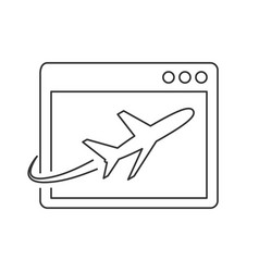 Airplane on site page line icon vector
