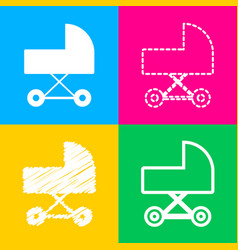 Pram sign  four styles of icon on vector