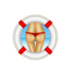 Life buoy with sexy bum of woman in red bikini vector