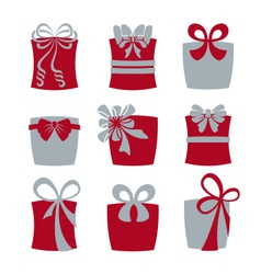 Gift boxes with bows vector image