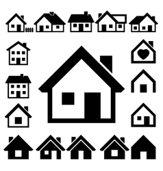 Houses icons set real estate vector